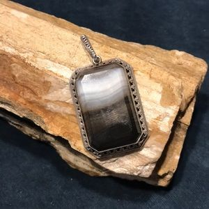 Sterling Silver and Laced Agate Pendant